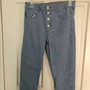 H&M Blue&White Striped Denim Jeans